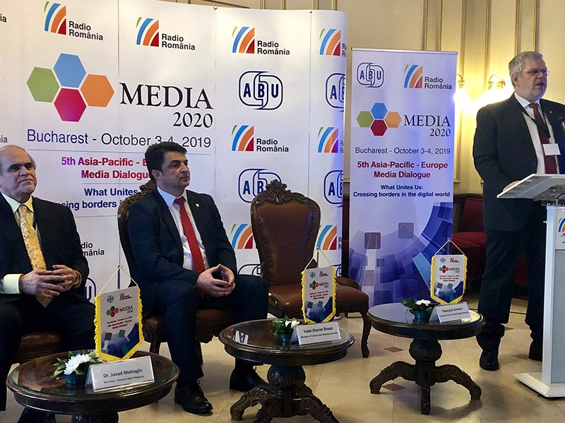 Georgica Severin, President Director, Radio Romania opening the Media 2020 dialogue. L-R Dr Javad Mottaghi, Secretary-General ABU, Mr Valer Daniel Breaz, Minister of Culture and National Identity, Government of Romania.